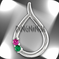Custom Birthstone Teardrop Shaped Pendant Sterling Silver Mother's Day Gift