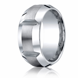 Benchmark 10MM Slotted Cobalt Chrome Mens Ring w/ Brushed Finish
