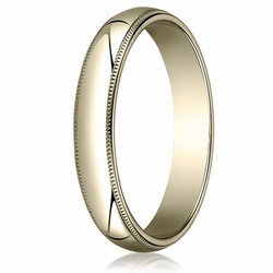 4MM Classic Domed 10K Gold Milgrain Traditional Fit Wedding Band