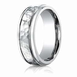 Benchmark 7MM Hammered Finish Center Cobalt Chrome Wedding Band