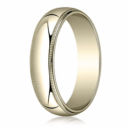 6MM Classic Domed 10K Gold Milgrain Traditional Fit Wedding Ring