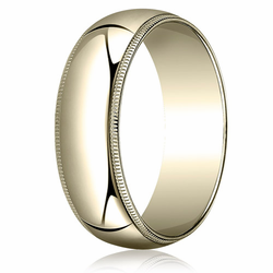 8MM Classic Domed 10K Gold Milgrain Traditional Fit Wedding Ring
