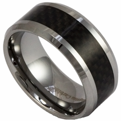 10MM Tungsten and Black Carbon Fiber Mens Ring