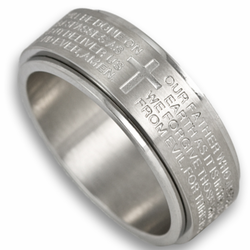 8MM Lords Prayer Spinner Ring (Stainless Steel)