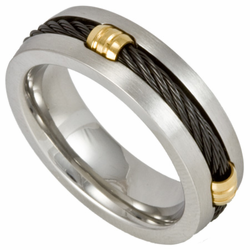 7MM Stainless Steel Cable Ring w/ Gold Fasteners