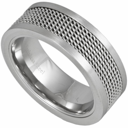 8MM Stainless Steel Ring w/ Mesh Inlay