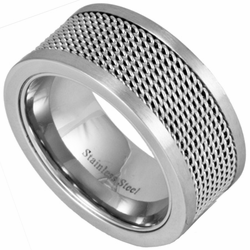 10MM Stainless Steel Ring w/ Mesh Inlay