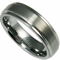 6MM Tungsten Wedding Ring w/ Stepped Edge Ring and Brushed Center