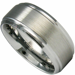 9MM Tungsten Ring w/ Stepped Edge 'RAZR' Wedding Band