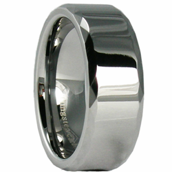 8MM Faceted Edge Tungsten Wedding Band