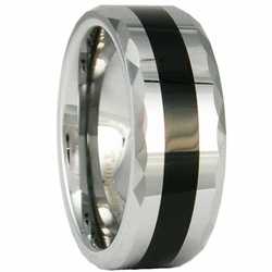 8MM Faceted Edge Tungsten Ring  w/ Black Inlay
