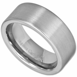 9MM Satin Finish Pipe Cut Men's Tungsten Wedding Ring