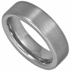6MM Satin Finish Pipe Cut Men's or Women's Tungsten Wedding Ring (Unisex)