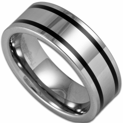 8MM Pipe Cut Tungsten Ring w/ Two Line Black Inlay
