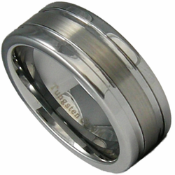 8MM Tungsten Wedding Ring w/ Satin Finish Center