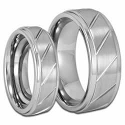 His and Her Stepped Edge w/ Grooves Tungsten Ring Set