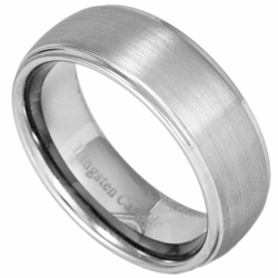 8MM Classic Domed Mens Tungsten Ring w/ Brushed Center