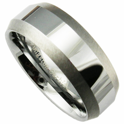 8MM Tungsten Ring with Shiny Center and Brushed Edges
