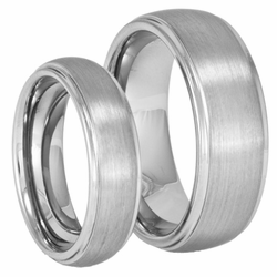 His and Hers Domed Tungsten Ring Set w/ Stepped Edges