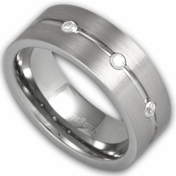 8MM Mens Tungsten Ring Satin Finish w/ Three Simulated Diamonds