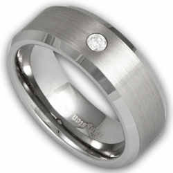 8MM Mens Tungsten Ring Satin Center w/ Simulated Diamond