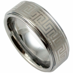 Laser Etched 'Greek Key' 8MM Tungsten Ring