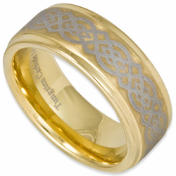 9MM Laser Etched 'Celtic' Tungsten Wedding Ring Stepped Edge w/ 18K Gold Plating