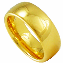 8MM Domed Tungsten Wedding Ring w/ 18K Gold Plating
