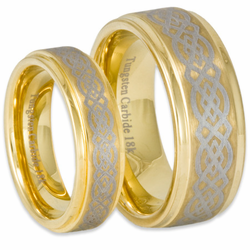His and Her Celtic Stepped Edge Tungsten & 18K Gold Wedding Band Set
