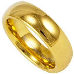 6MM Domed Tungsten Wedding Ring with 18K Gold Plating