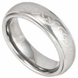 Laser Etched Celtic Knot 6MM Tungsten Wedding Ring