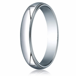 4MM Classic Domed 10K White Gold Milgrain Traditional Fit Wedding Band