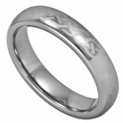 Laser Etched Celtic Knot 4MM Womens Tungsten Wedding Ring