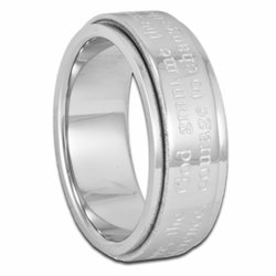 7MM Serenity Prayer Stainless Steel Spinner Ring