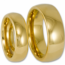 His and Her Classic Domed Tungsten Wedding Ring Set with 18K Gold Plating