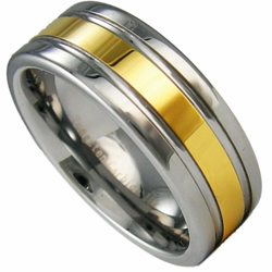 8MM Two Tone Tungsten Wedding Ring with 18K Gold Center