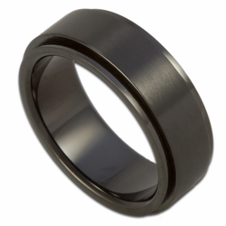 7MM Black Stainless Steel Engravable Spinner Ring