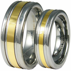 Tungsten and 18K Gold Two Tone Wedding Ring Set