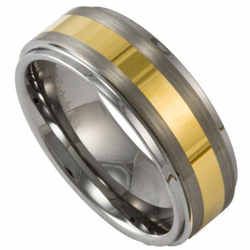 8MM Two Tone Tungsten Ring w/ Brushed Center & 18K Gold Overlay