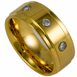 9MM Tungsten Ring and 18K Gold w/ Simulated Diamonds