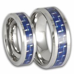 His and Hers Tungsten and Blue Carbon Fiber Wedding Ring Set