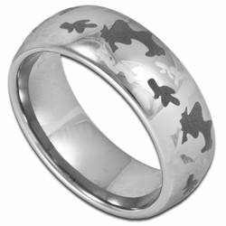 8MM Laser Etched Camouflage Pattern Mens Tungsten Ring