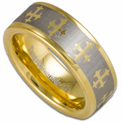 8MM Tungsten & 18K Gold Wedding Ring w/ Celtic Cross