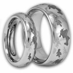 His and Hers Laser Etched Camouflage Tungsten Ring Set