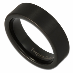 6MM Black Pipe Cut Matte Finish Tungsten Ring Unisex