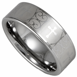 Men's 8MM Tungsten Laser Etched Cross Ring