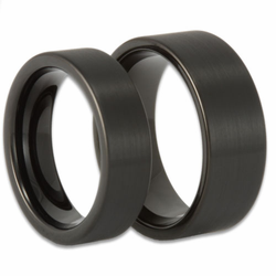 His and Hers Pipe Cut Black Tungsten Ring Set Matte Finish