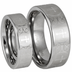 His and Hers Tungsten Wedding Ring Set w/ Laser Etched Cross Pattern