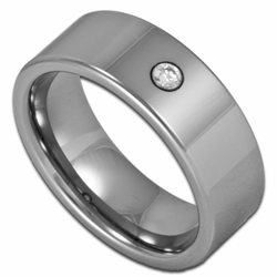8MM Pipe Cut Men's Tungsten Wedding Ring w/ Simulated Diamond