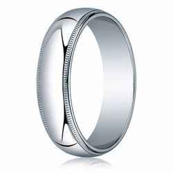 6MM Classic Domed 10K White Gold Milgrain Traditional Fit Wedding Ring